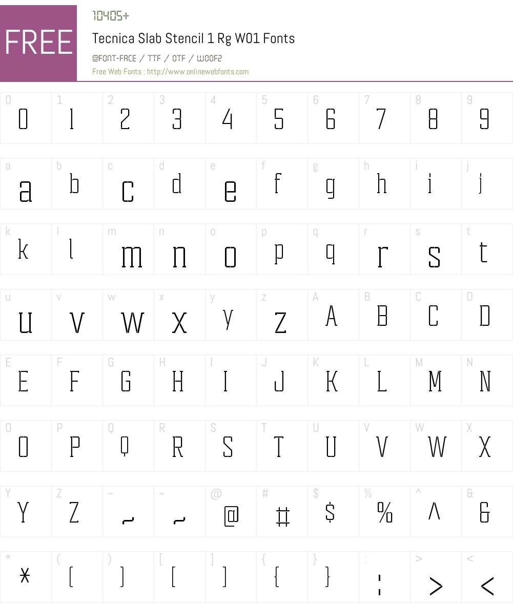 TecnicaSlabStencil1RgW01-Rg Font Screenshots