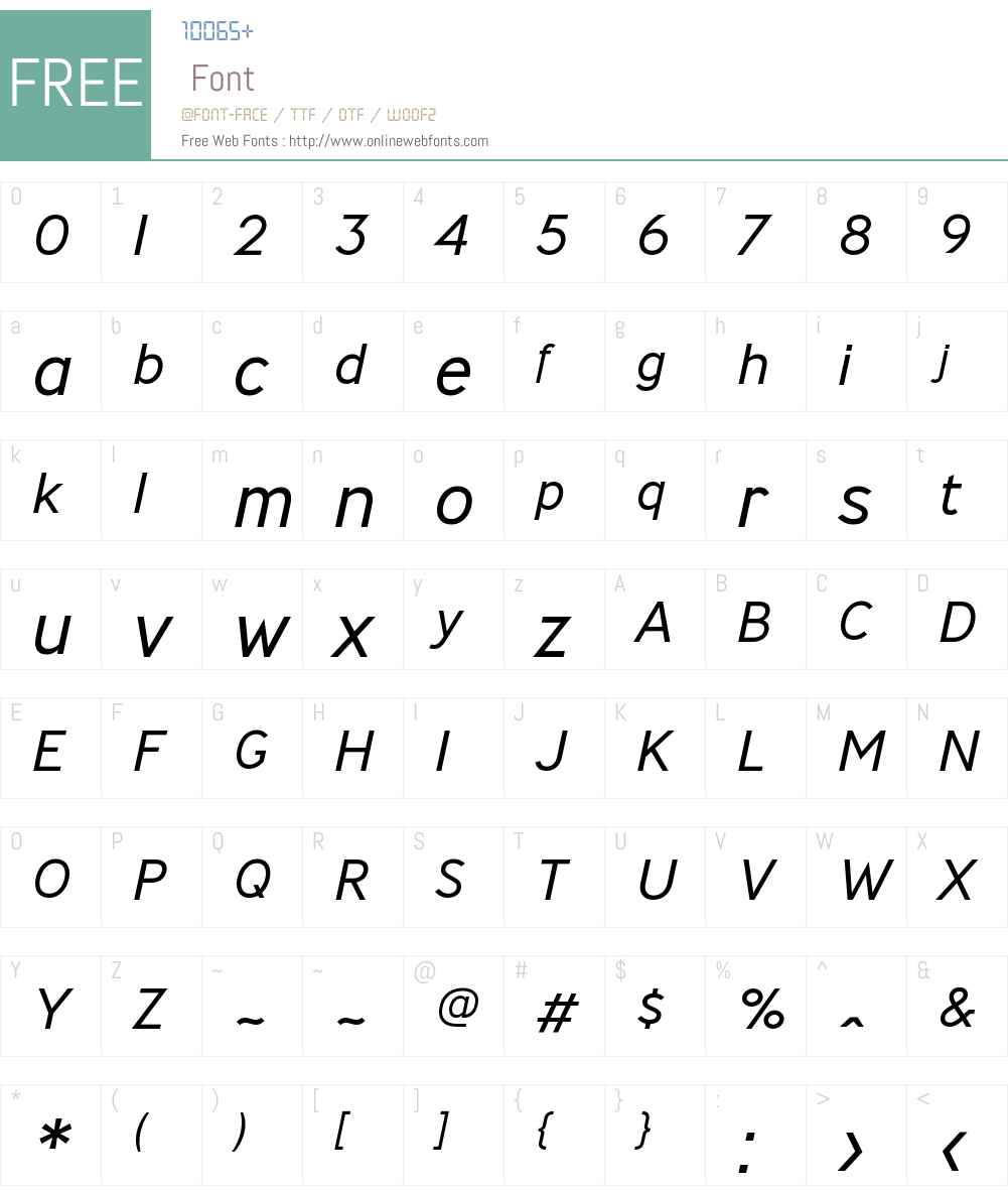MinistryW00-LightItalic Font Screenshots