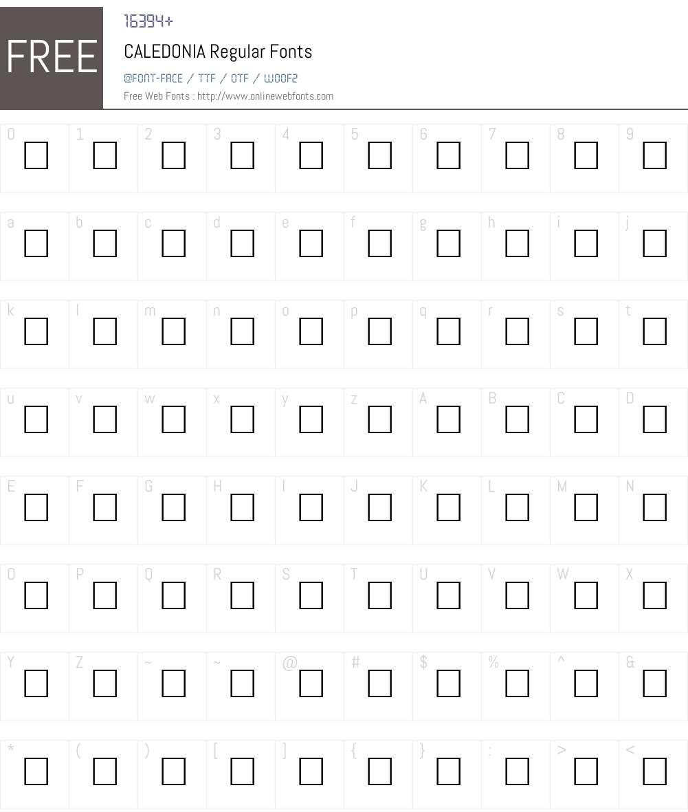CALEDONIA Font Screenshots