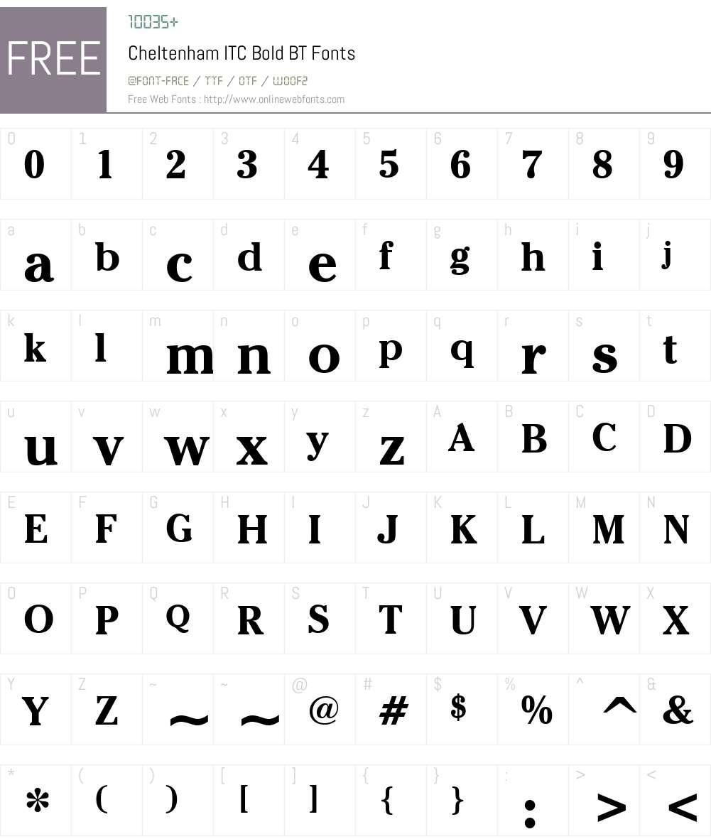 ChelthmITC Bk BT Font Screenshots