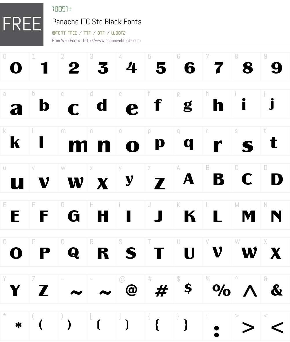 Panache ITC Std Font Screenshots