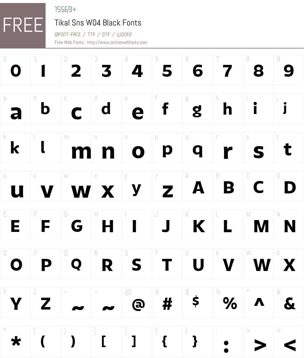TikalSnsW04-Black Font Screenshots