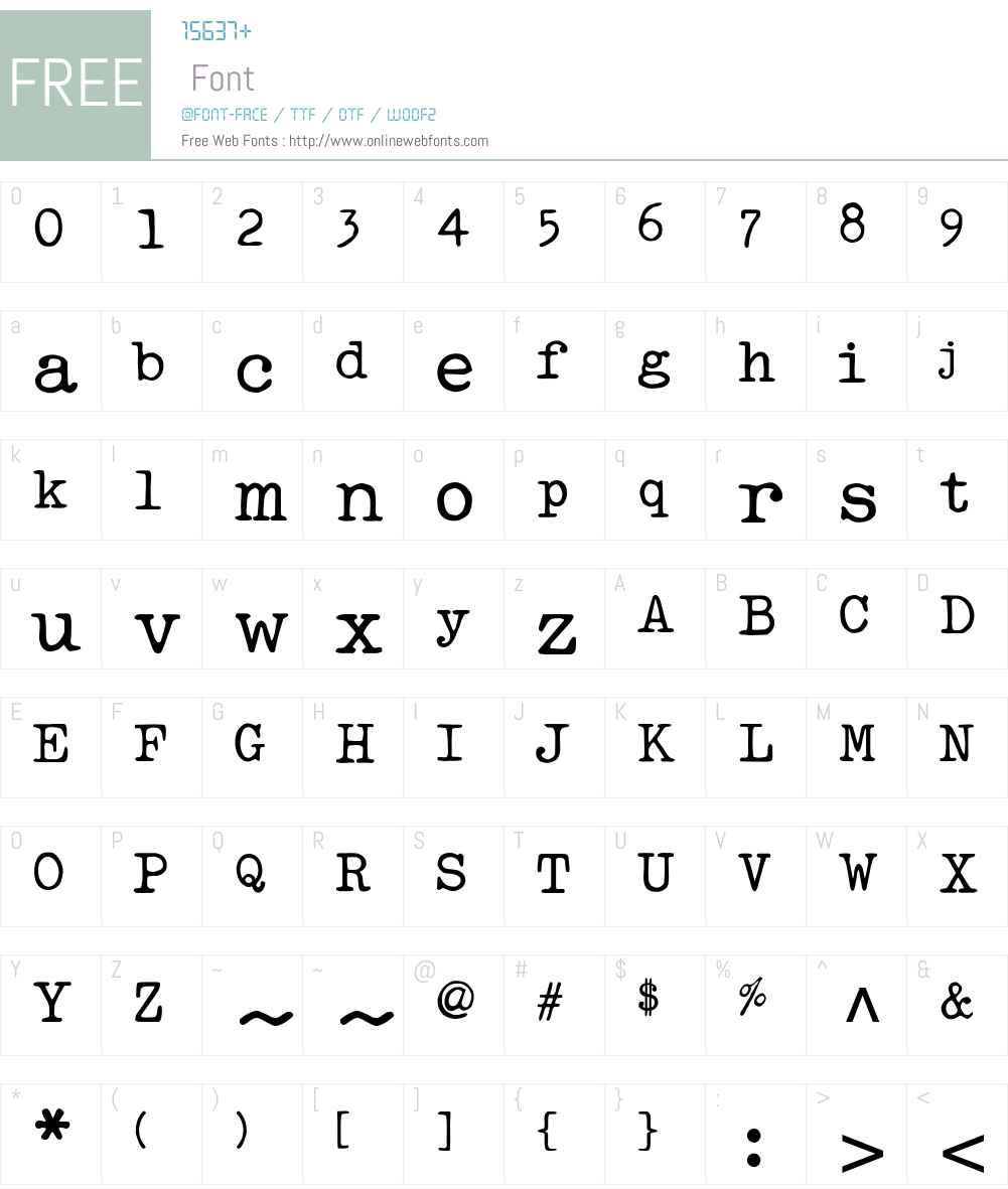 MakinaW00-Regular Font Screenshots