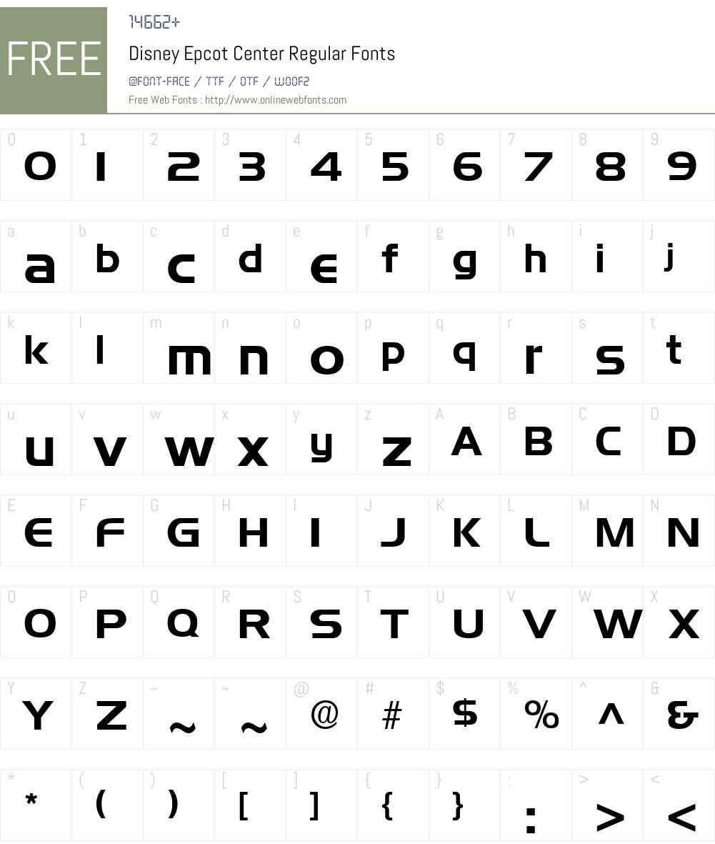 Disney Epcot Center Font Screenshots