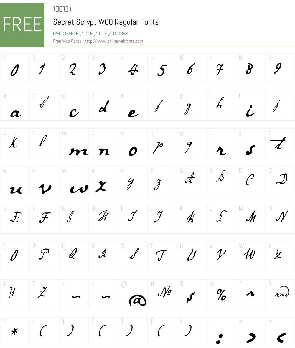 SecretScryptW00-Regular Font Screenshots