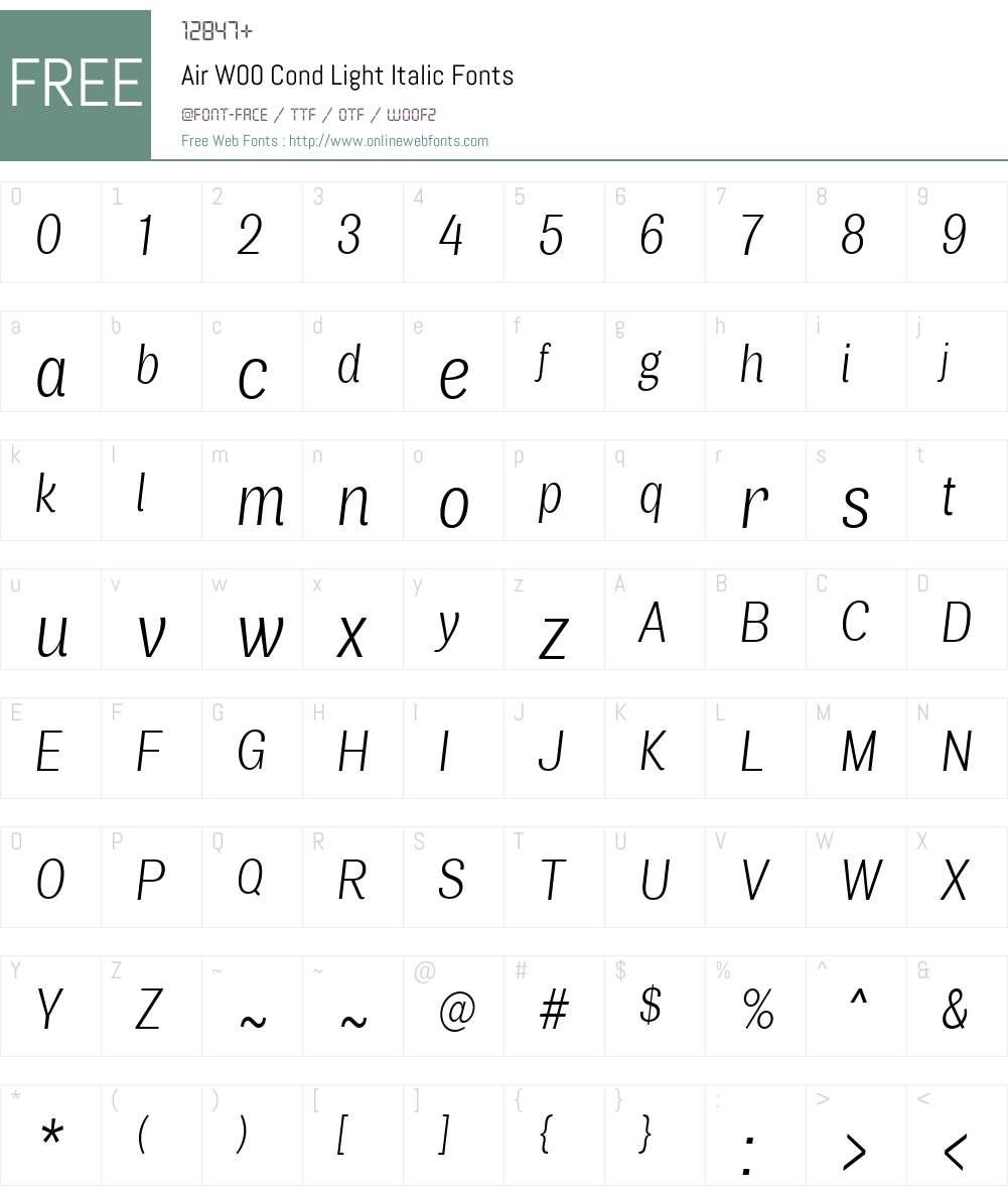 AirW00-CondLightItalic Font Screenshots