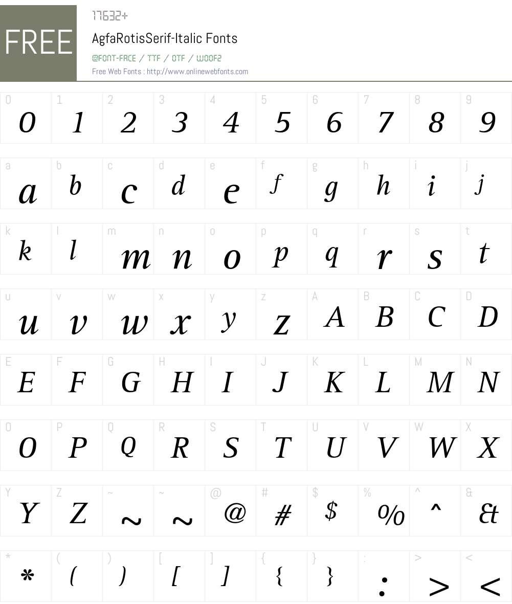 AgfaRotisSerif Font Screenshots