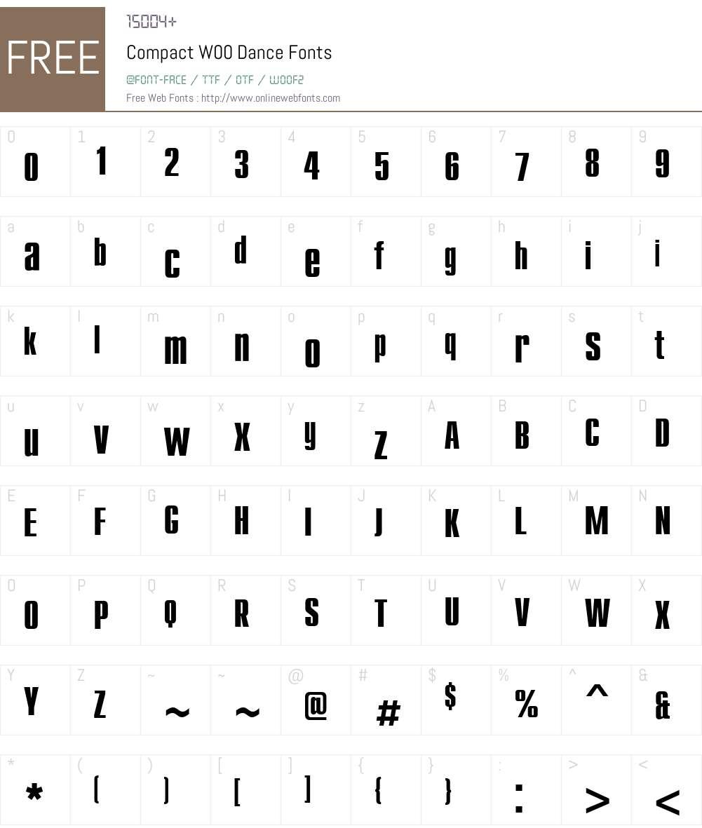CompactW00-Dance Font Screenshots