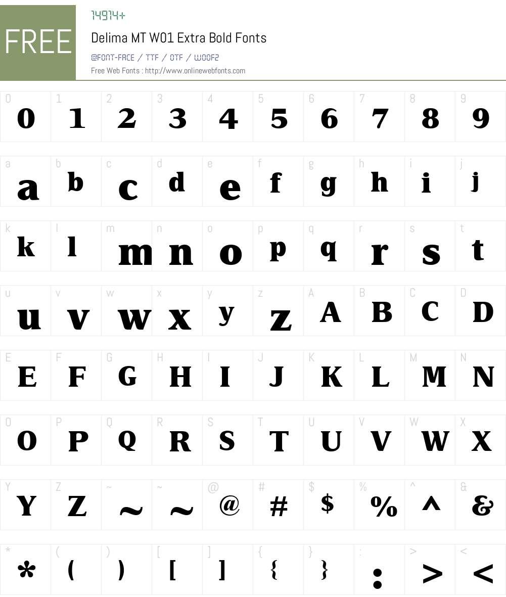 DelimaMTW01-ExtraBold Font Screenshots