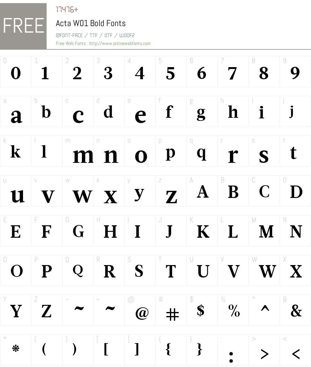 ActaW01-Bold Font Screenshots
