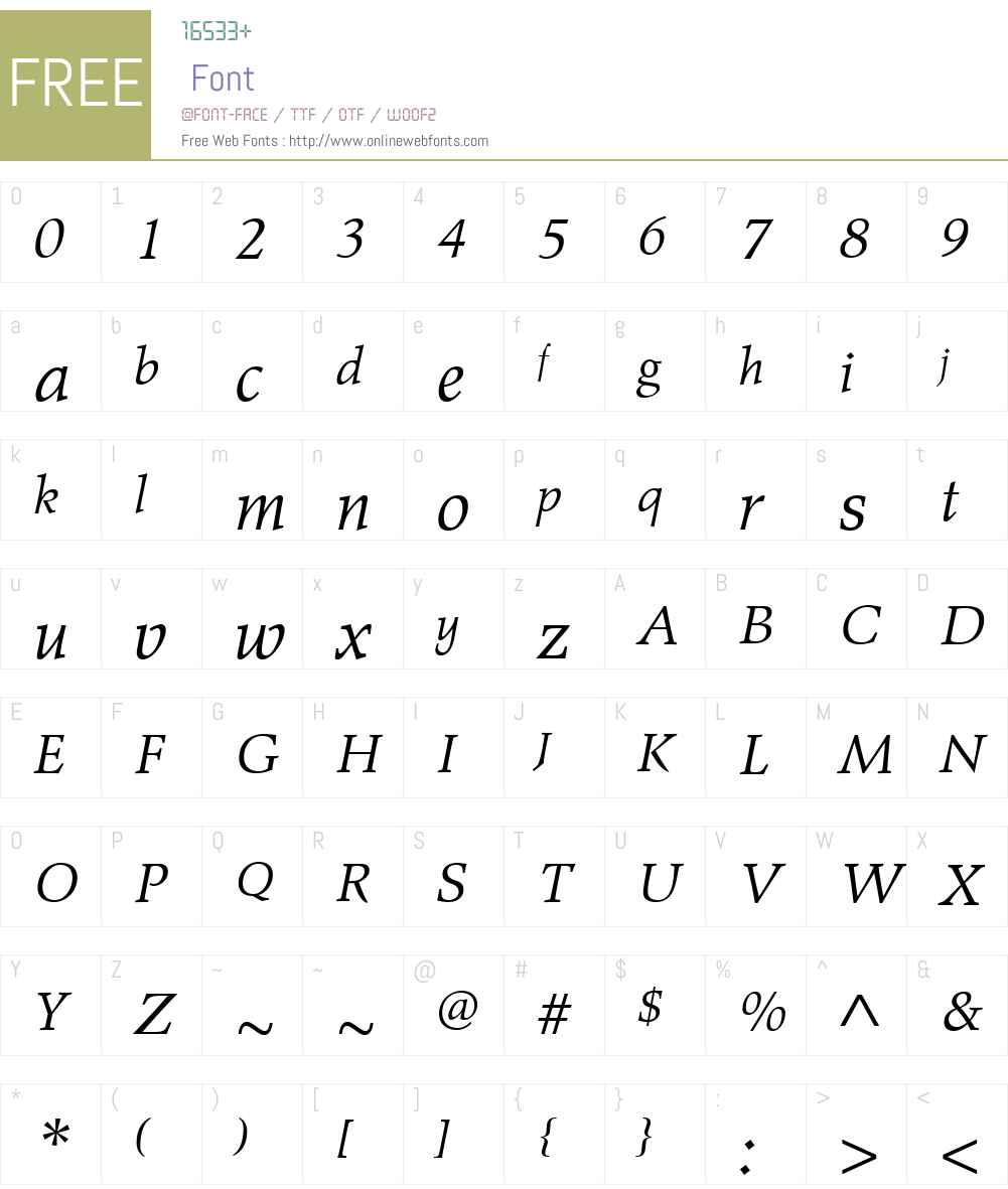 WileRomanW01-Italic Font Screenshots