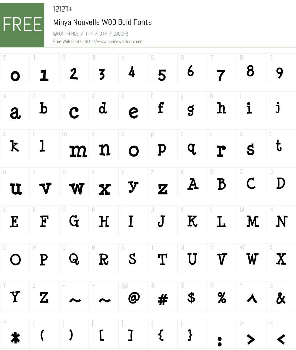 MinyaNouvelleW00-Bold Font Screenshots