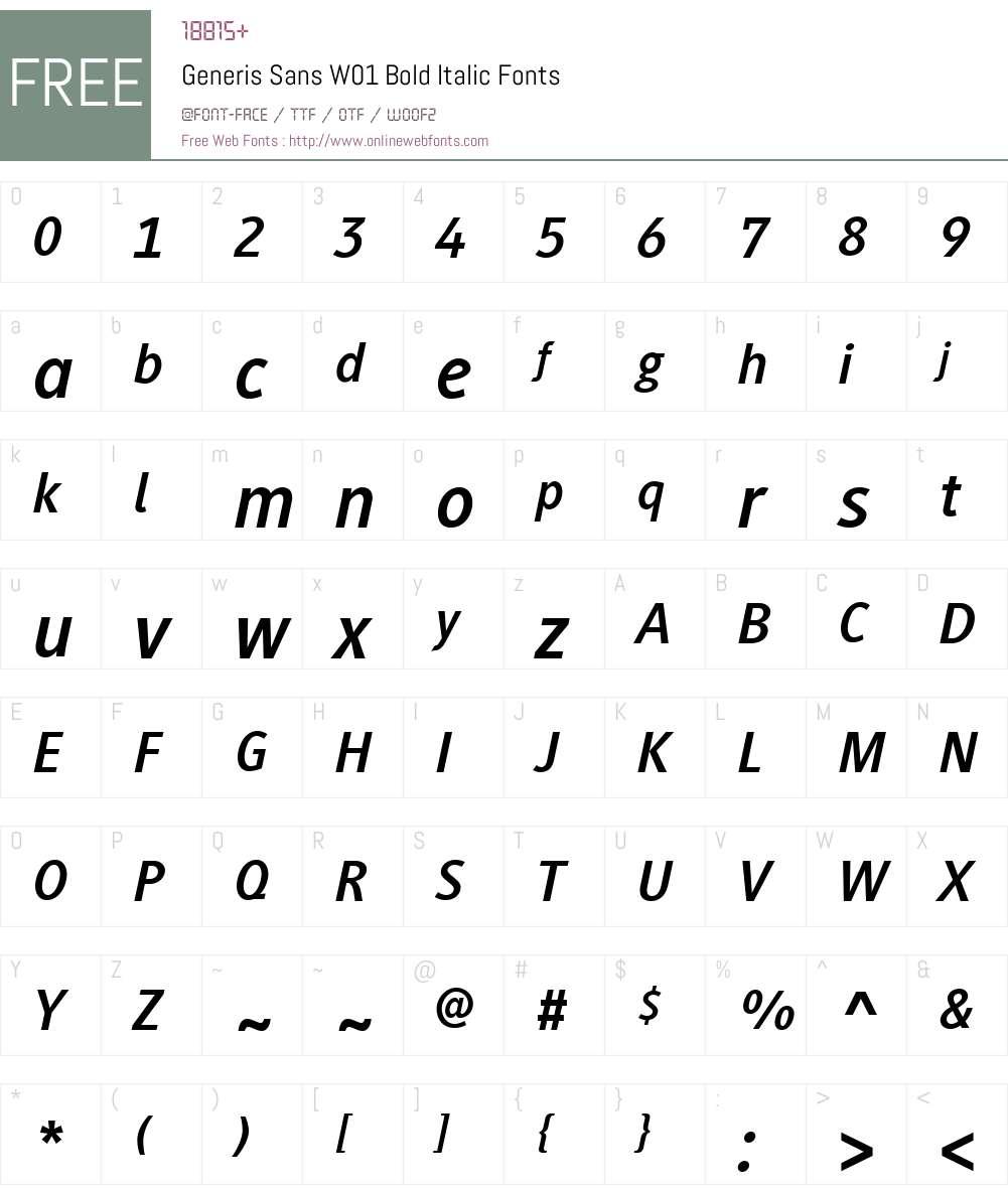 GenerisSansW01-BoldItalic Font Screenshots
