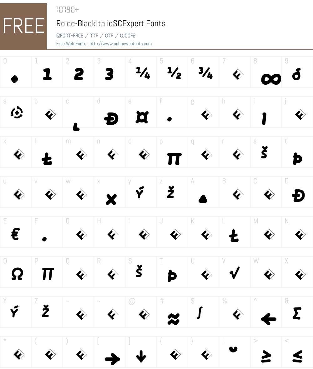 Roice-BlackItalicSCExpert Font Screenshots