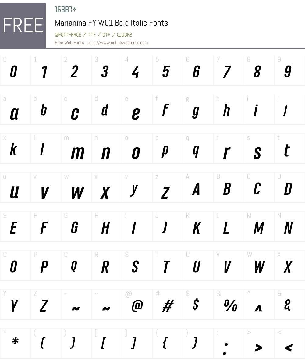 MarianinaFYW01-BoldItalic Font Screenshots