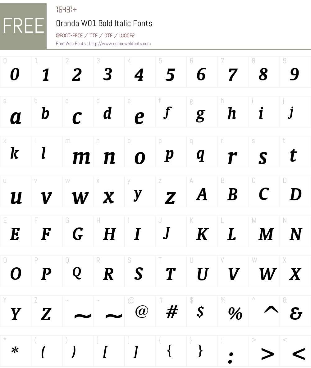 OrandaW01-BoldItalic Font Screenshots