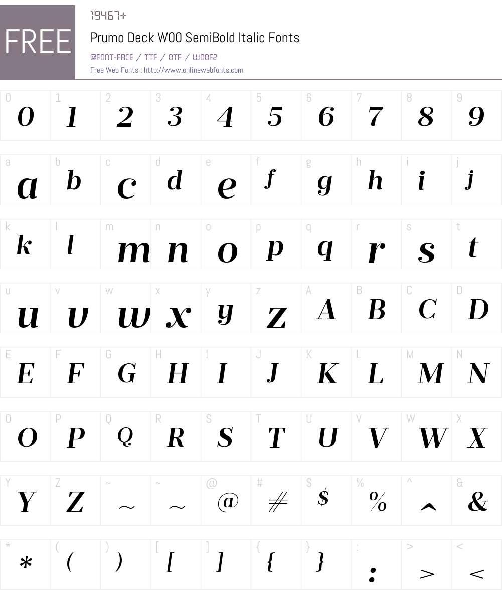 PrumoDeckW00-SemiBoldItalic Font Screenshots