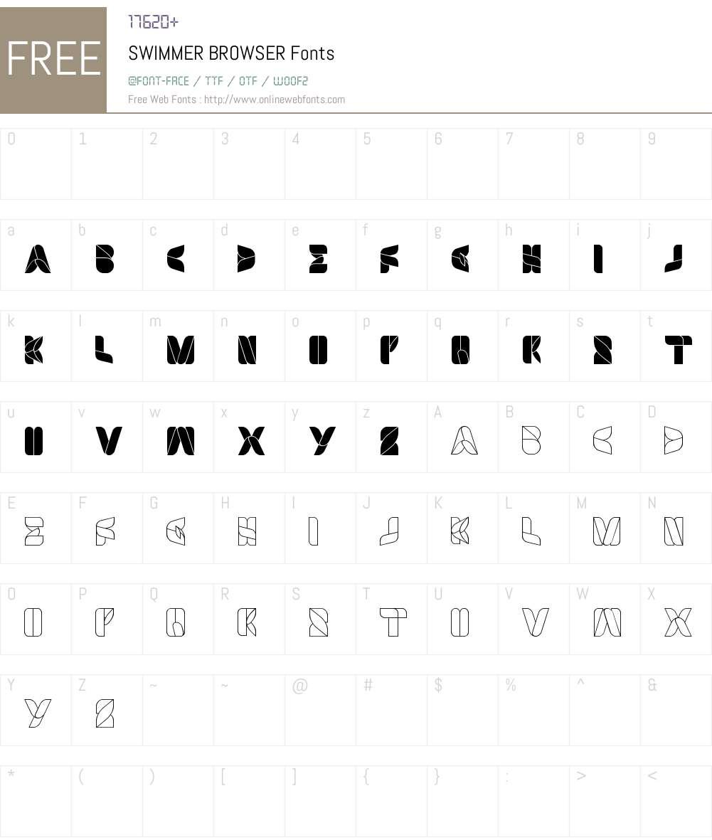 SWIMMER BROWSER Font Screenshots