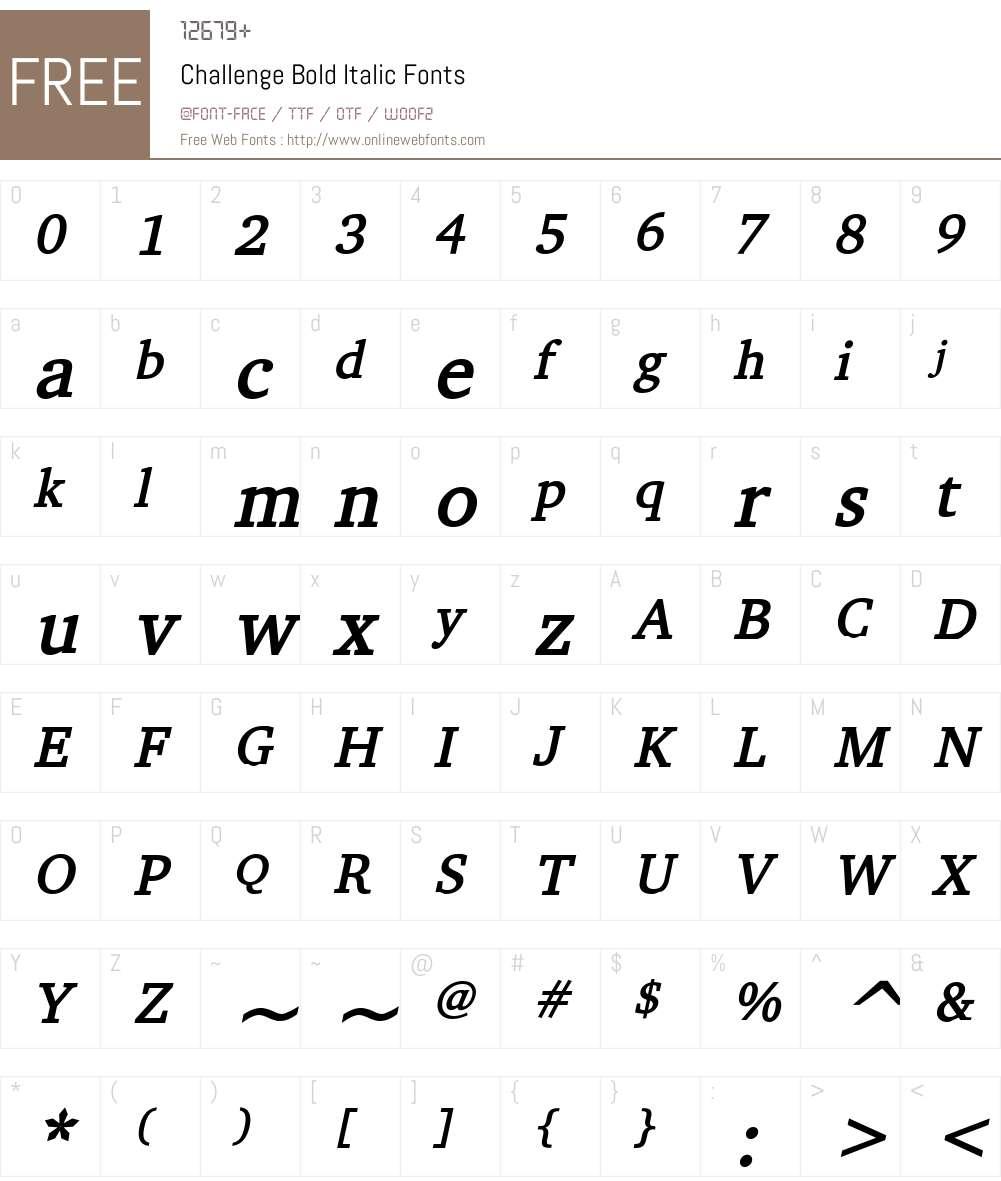 Challenge Font Screenshots