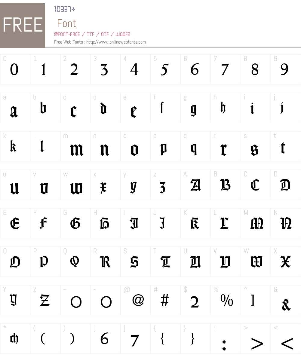 WeinGothikDB Font Screenshots