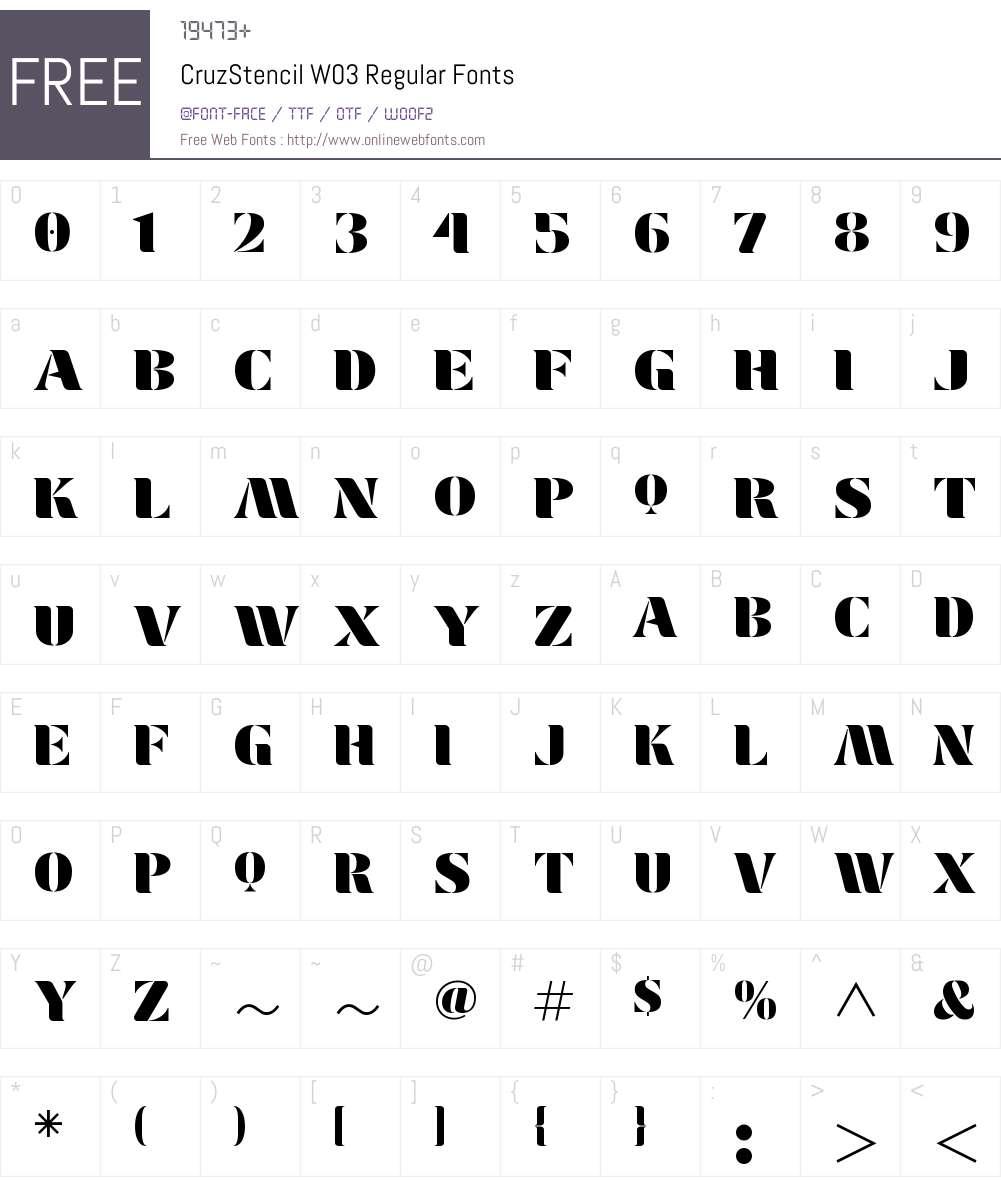 Cruz Stencil Font Screenshots