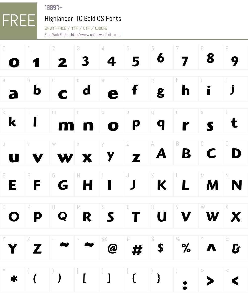 Highlander ITC Font Screenshots