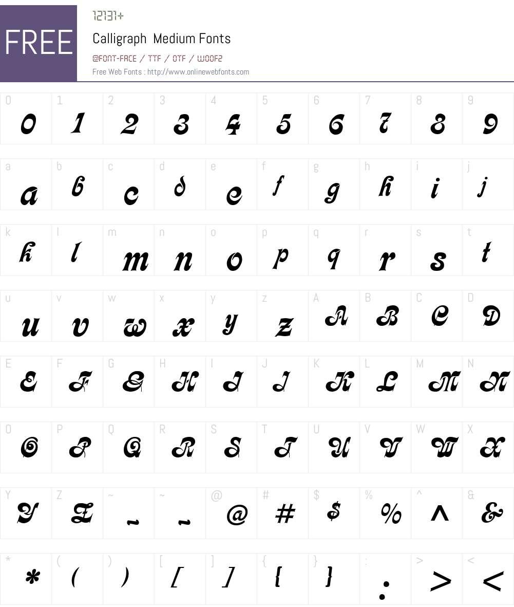 Calligraph Font Screenshots