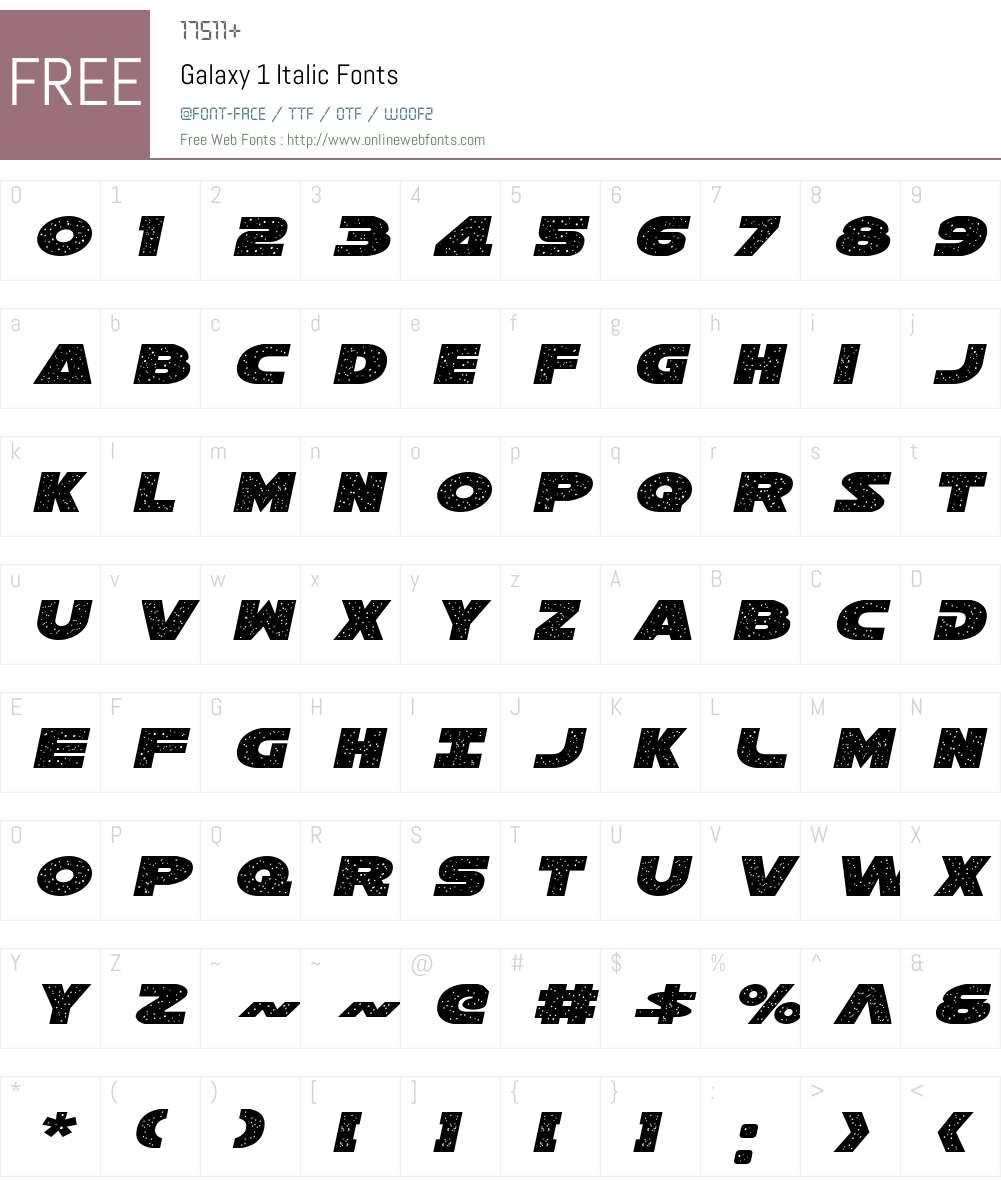 Galaxy 1 Italic Font Screenshots
