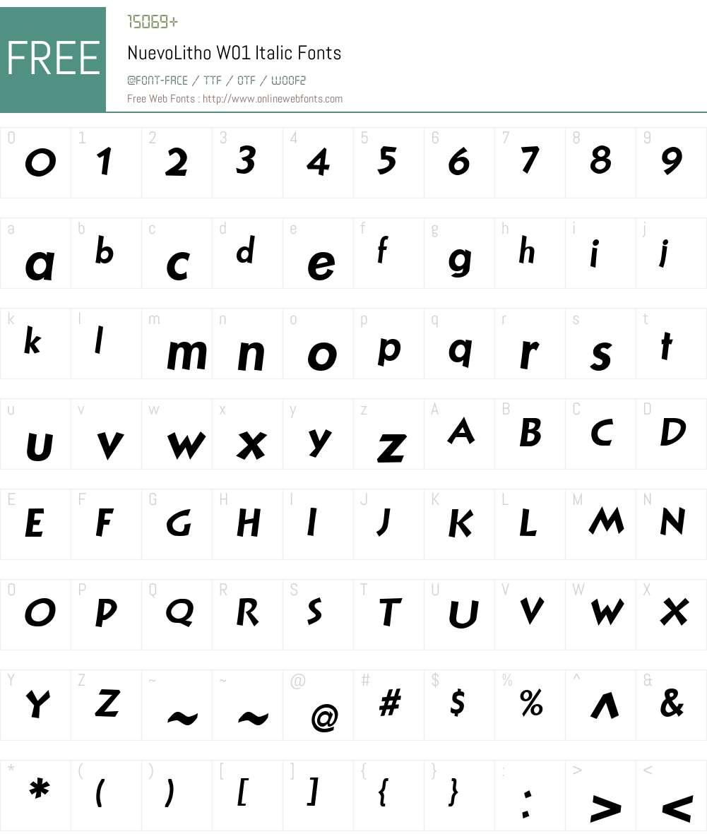 NuevoLithoW01-Italic Font Screenshots