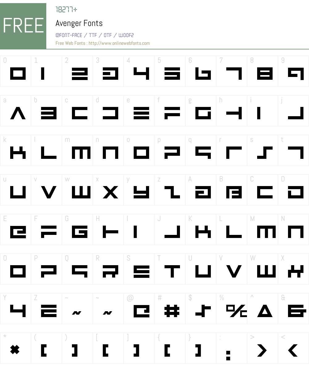 Avenger Font Screenshots