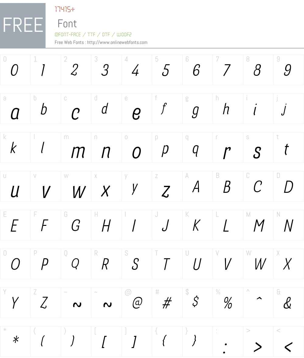 BarcisW01-CondRegularItalic Font Screenshots