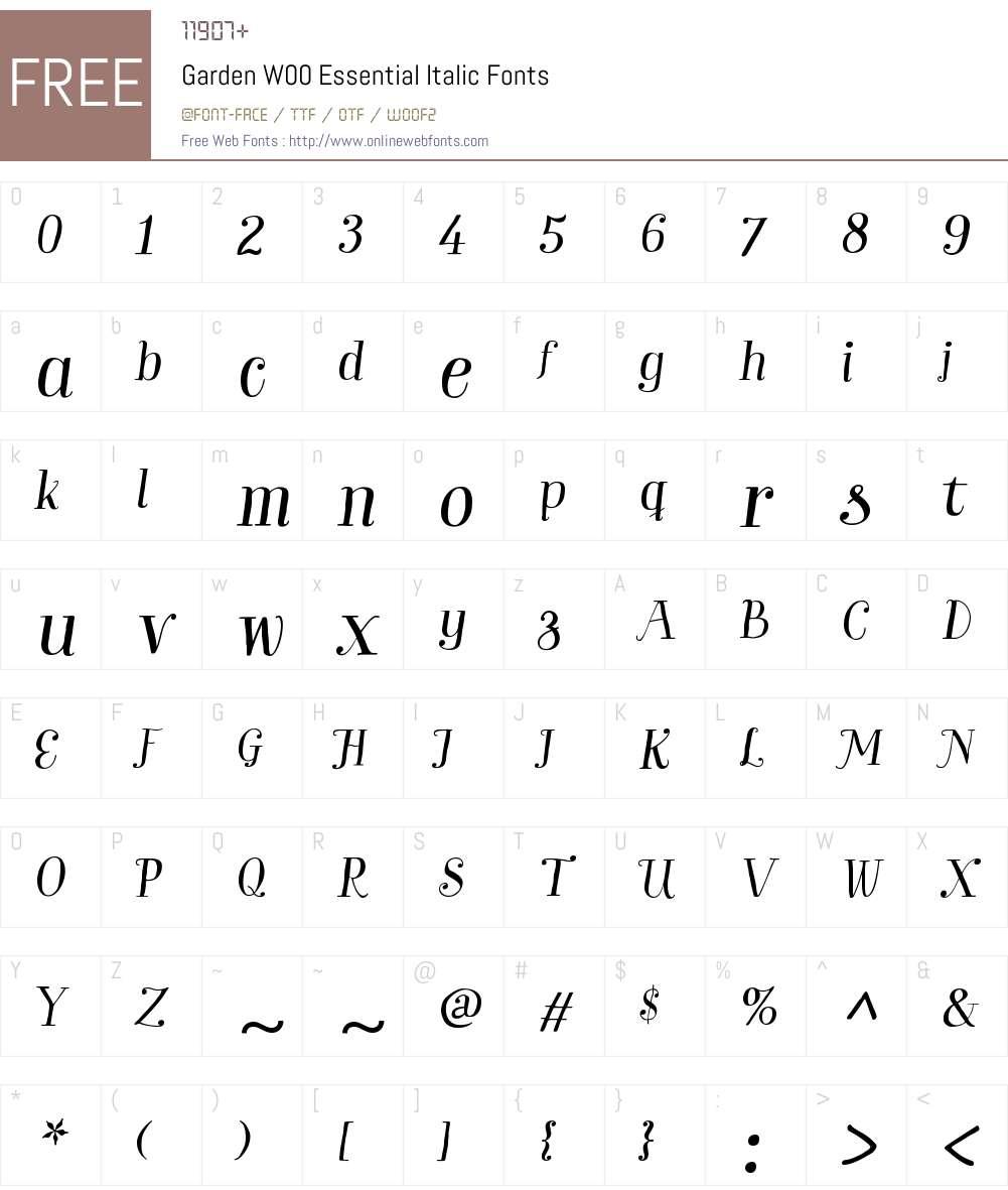 GardenW00-EssentialItalic Font Screenshots