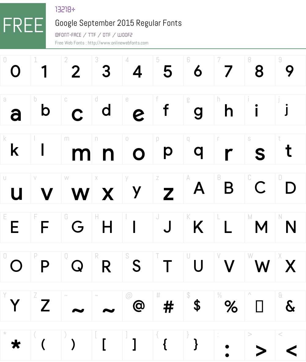 Google September 2015 Font Screenshots