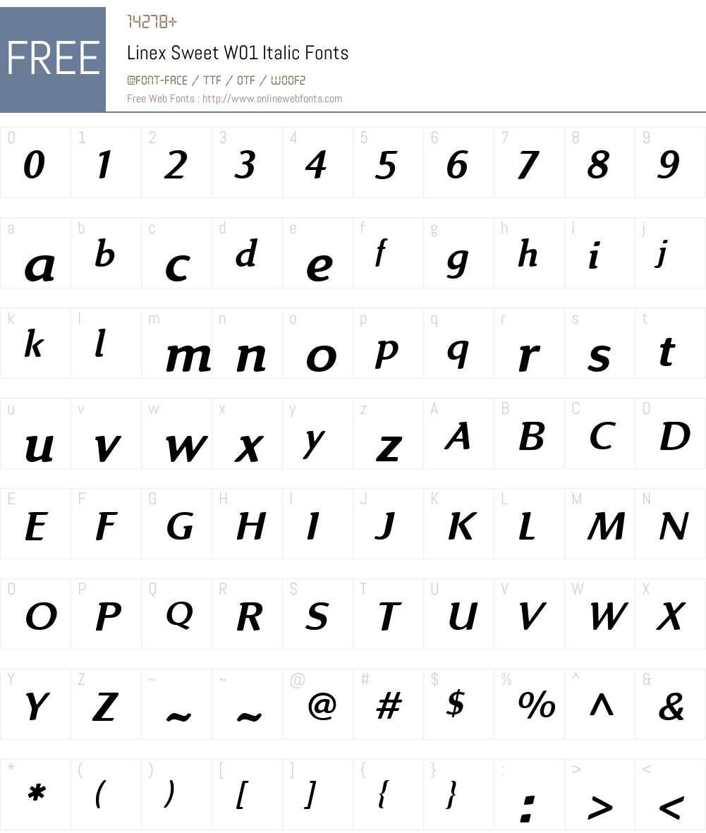 LinexSweetW01-Italic Font Screenshots