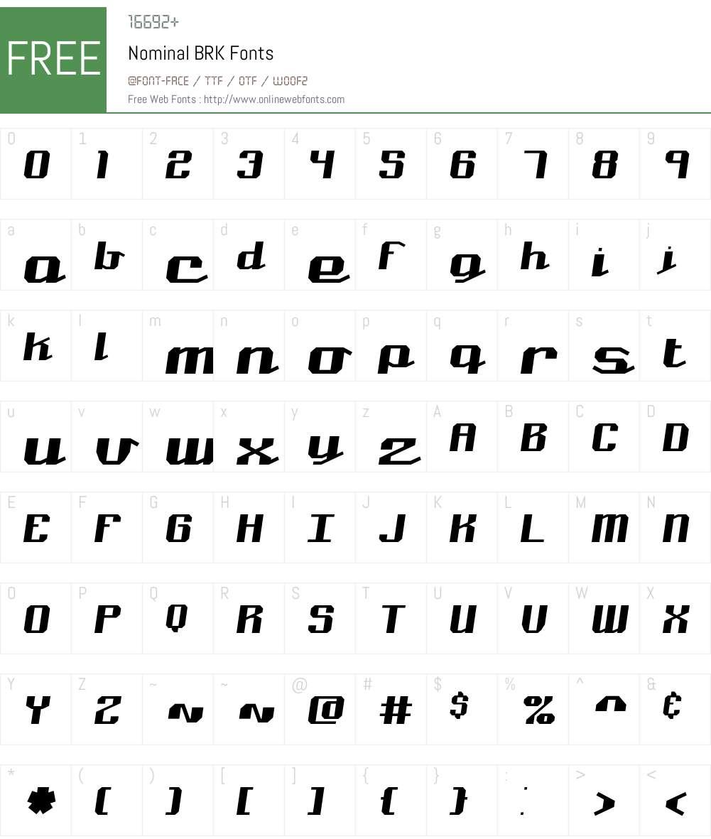 Nominal BRK Font Screenshots
