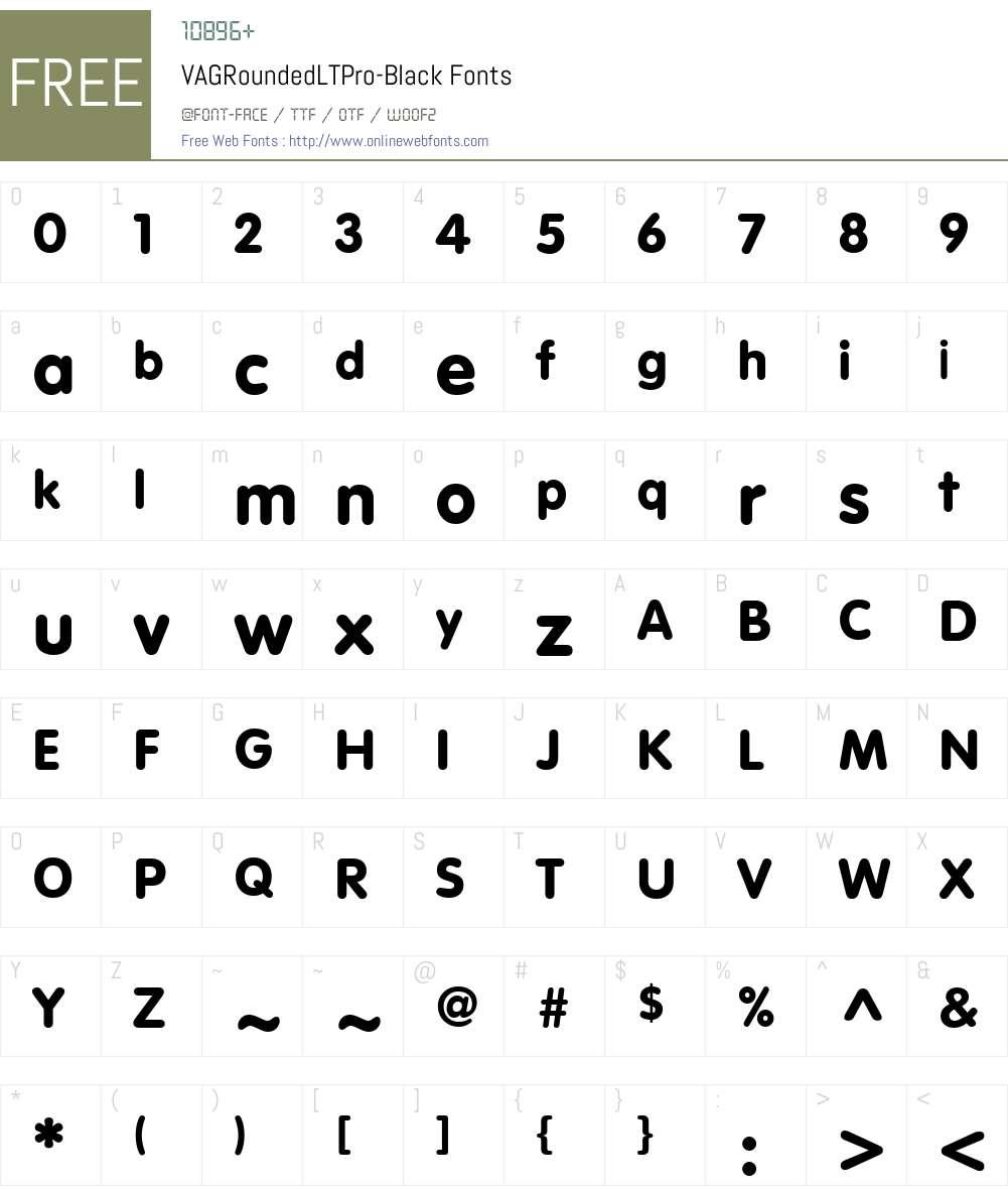 VAGRoundedLTPro-Black Font Screenshots