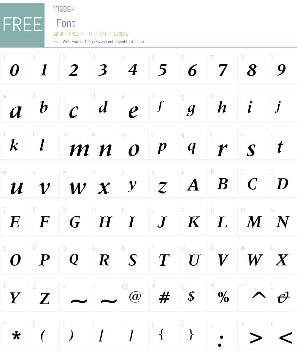 Latin725W01-BoldItalic Font Screenshots