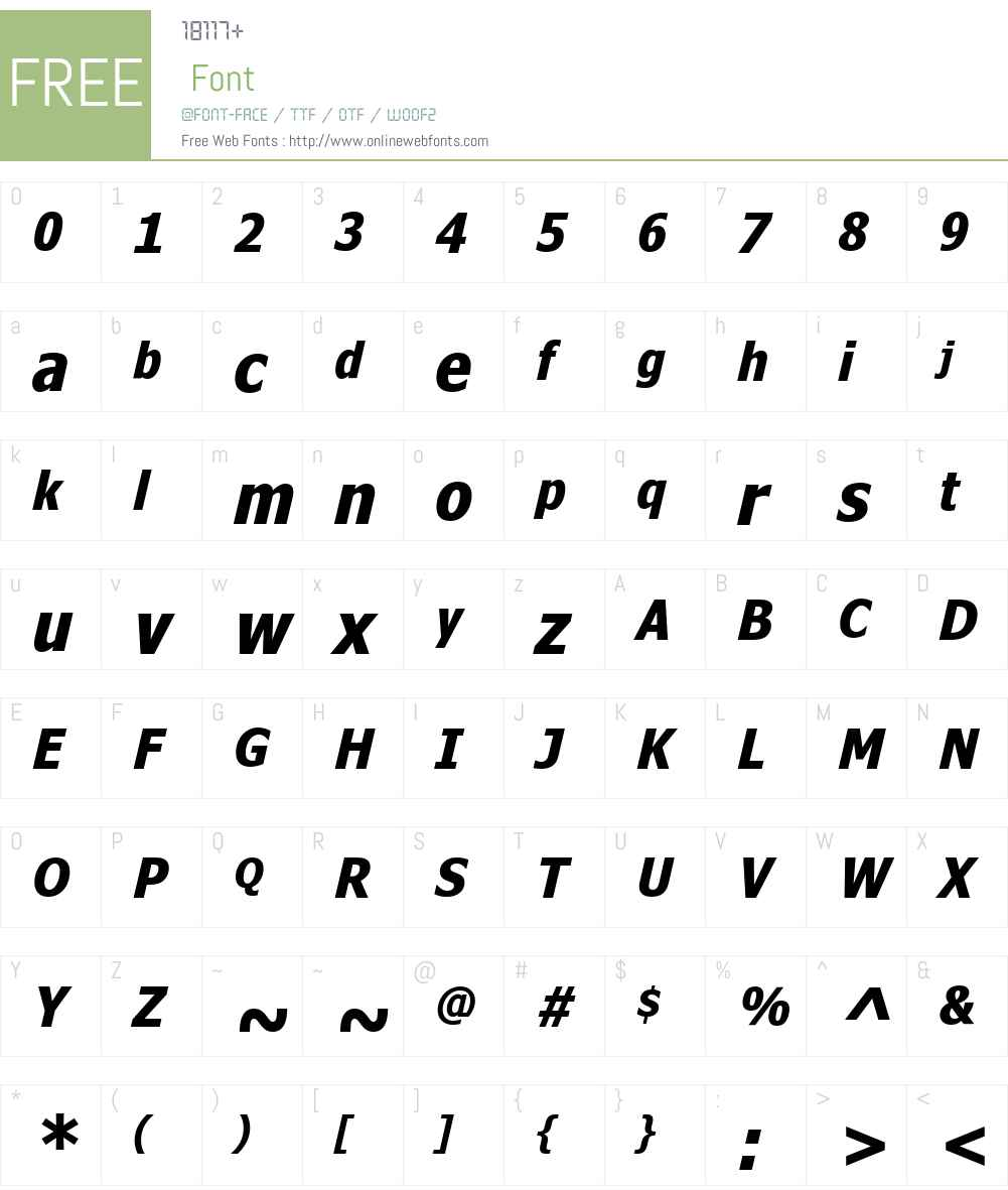 NinaW01-BoldItalic Font Screenshots