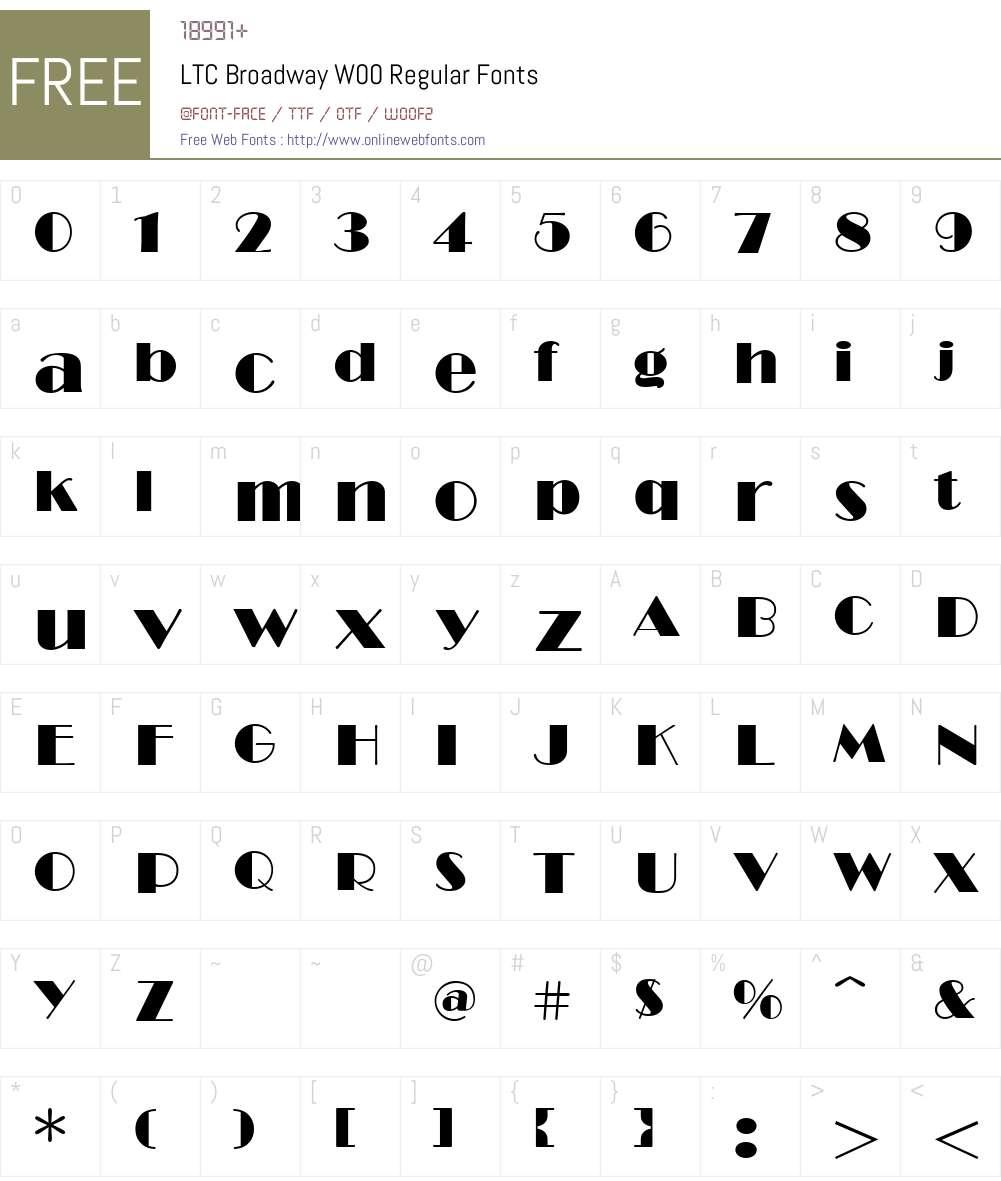 LTCBroadwayW00-Regular Font Screenshots
