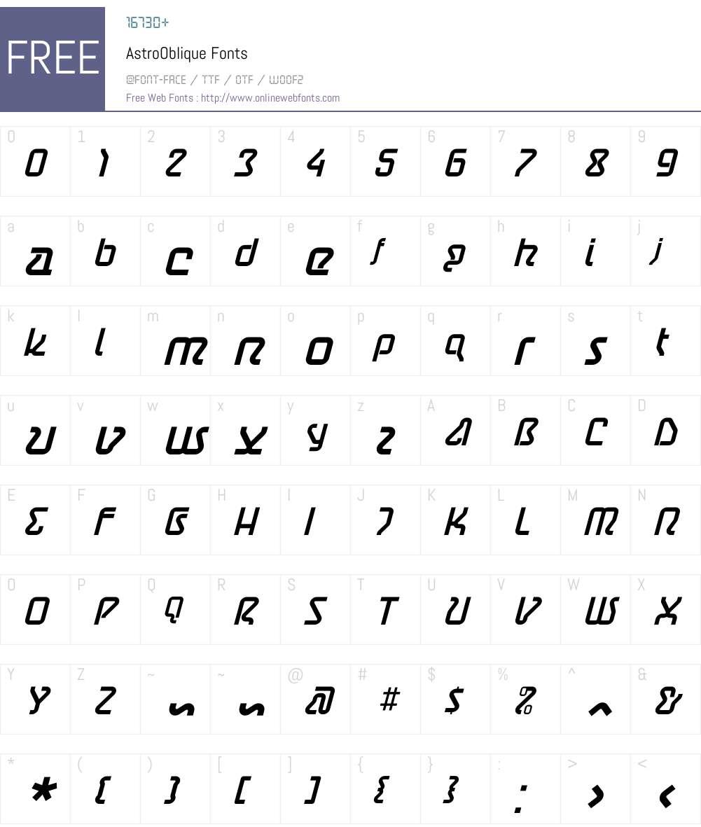 AstroOblique Font Screenshots