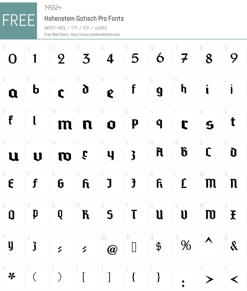 Hohenstein Gotisch Pro Font Screenshots
