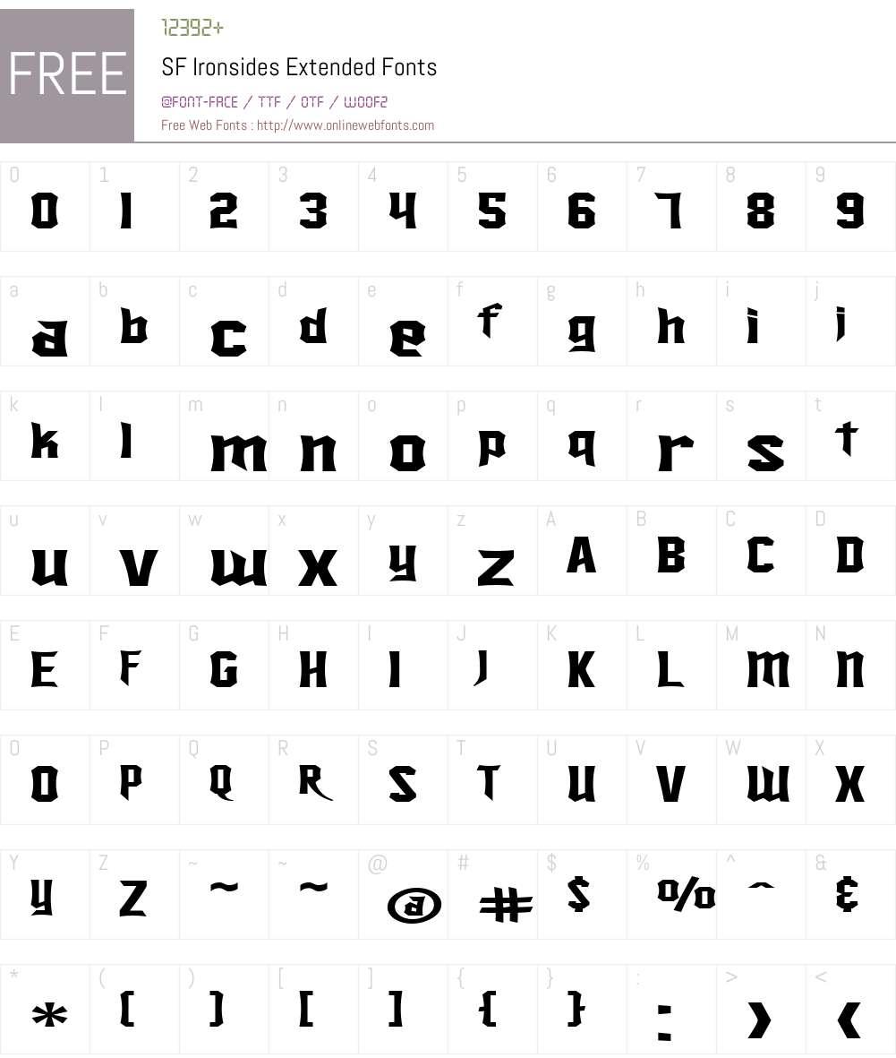 SF Ironsides Extended Font Screenshots