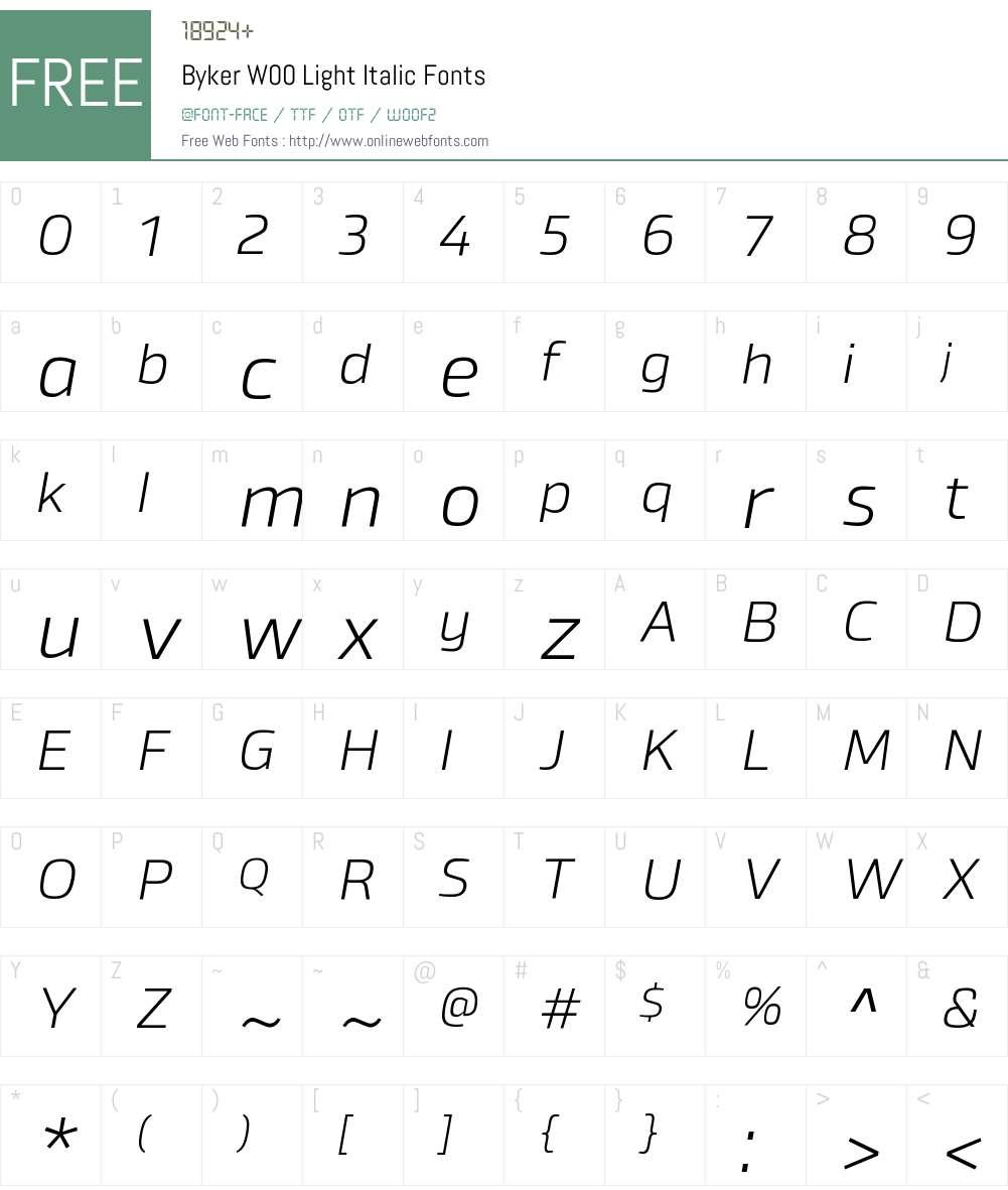 BykerW00-LightItalic Font Screenshots