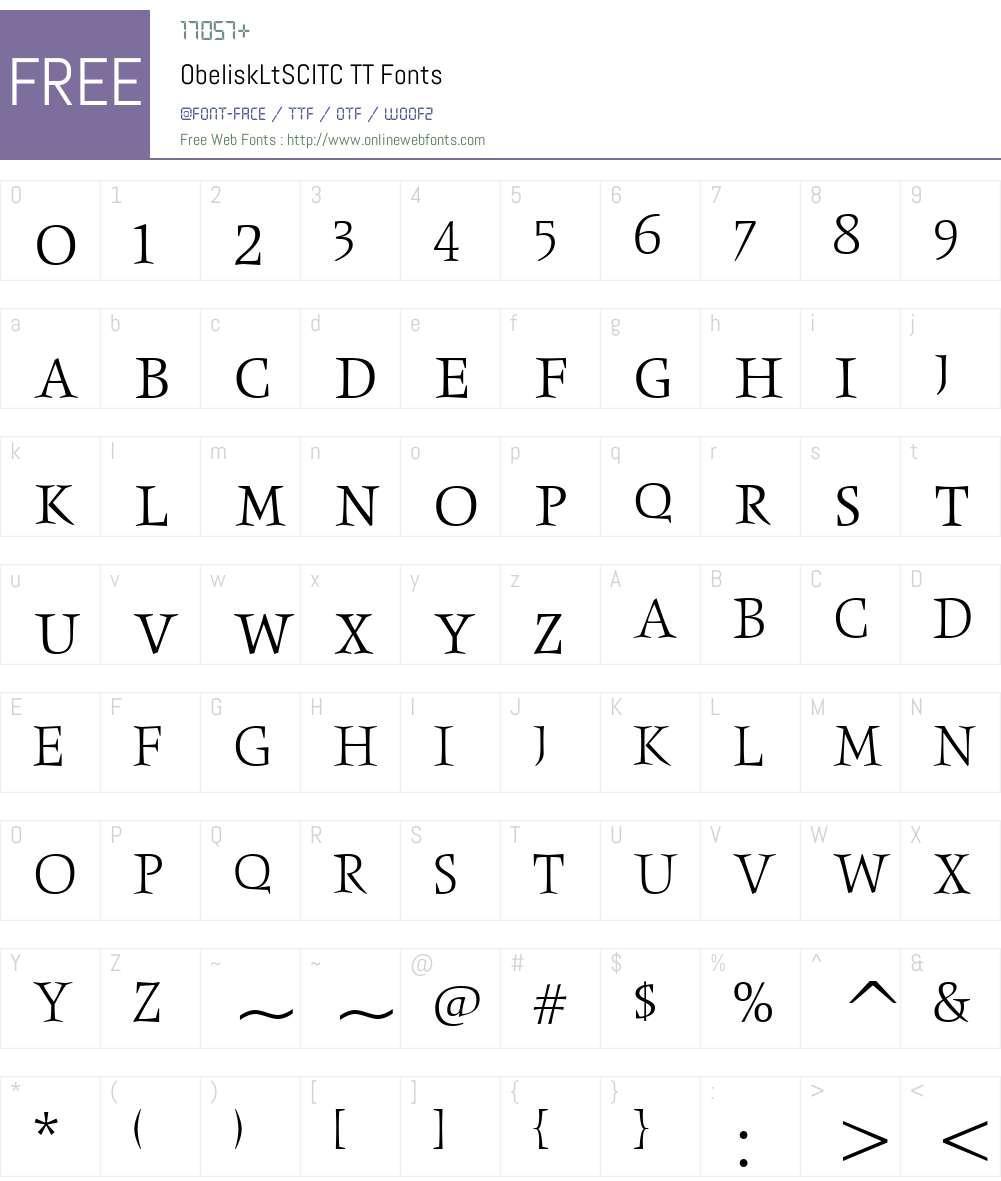 ObeliskLtSCITC TT Font Screenshots