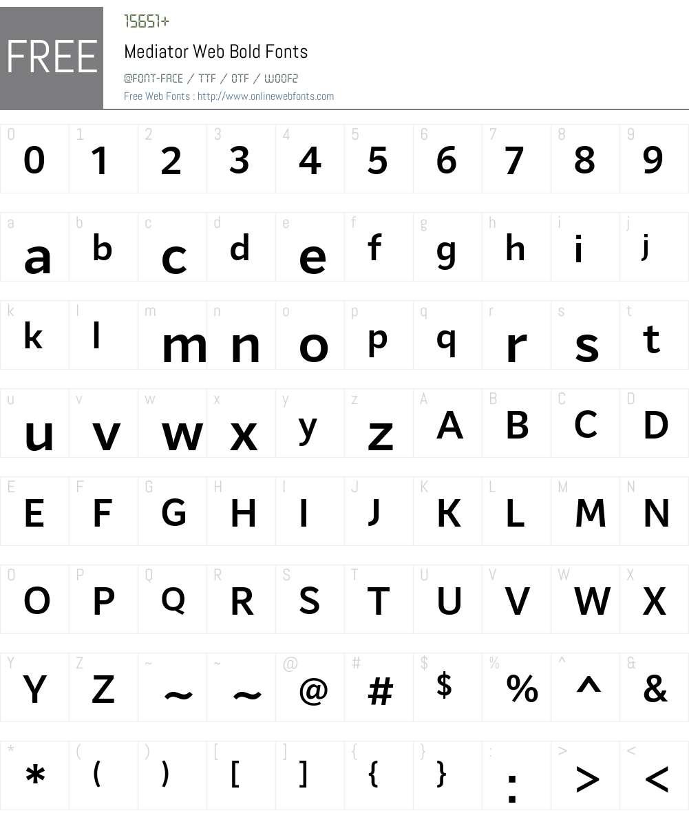 Mediator Web Bold Font Screenshots