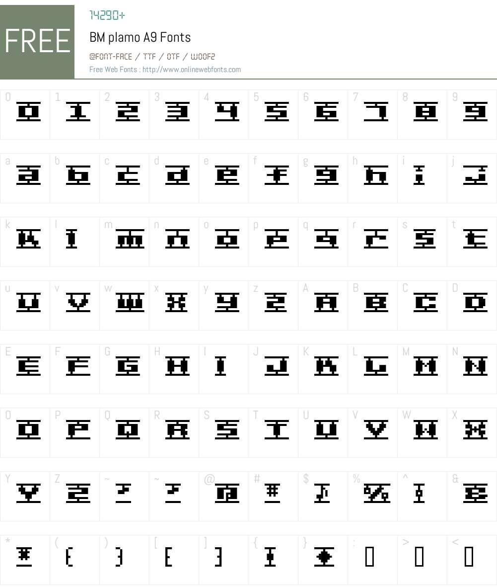 BM plamo Font Screenshots