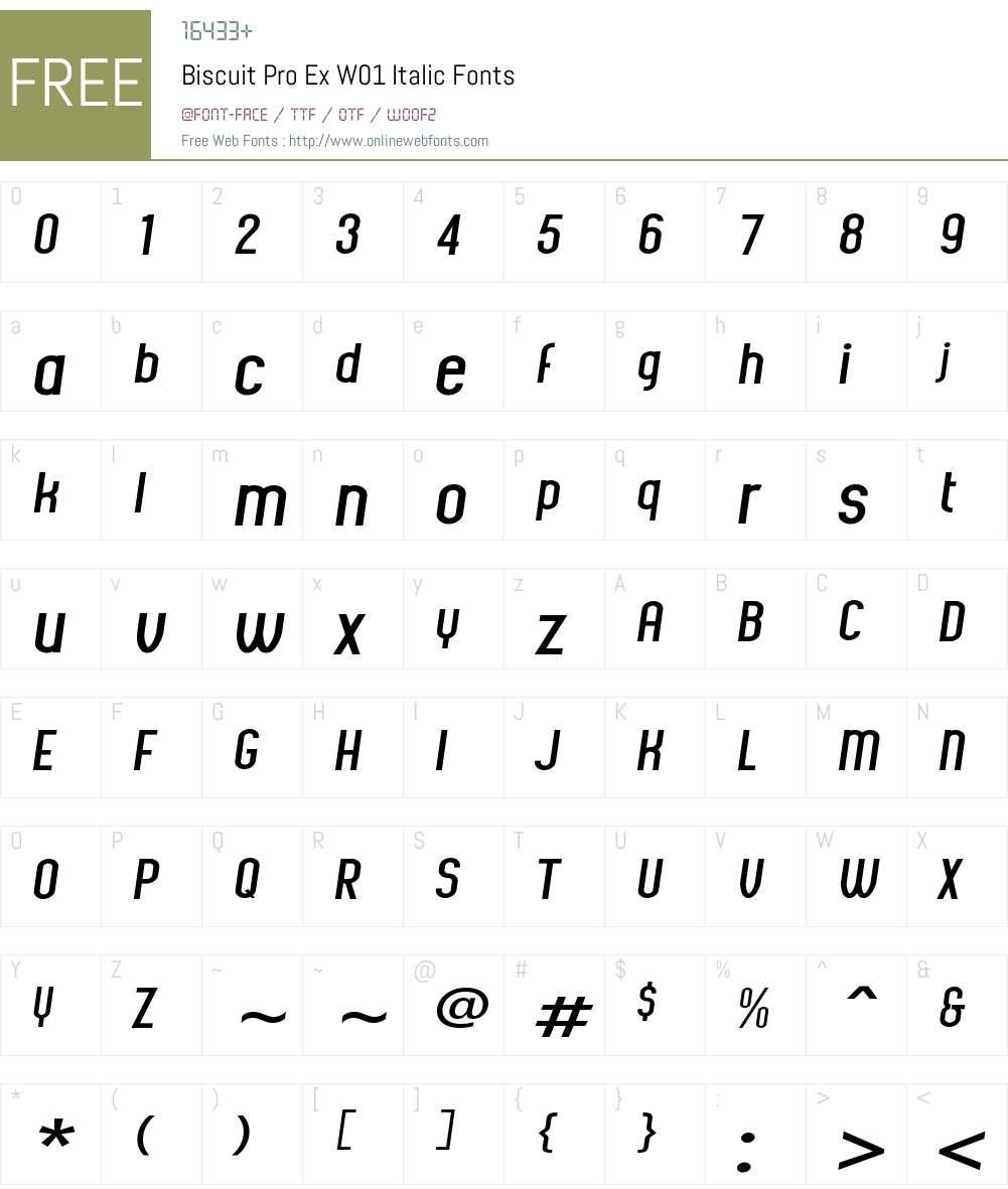 BiscuitProExW01-Italic Font Screenshots