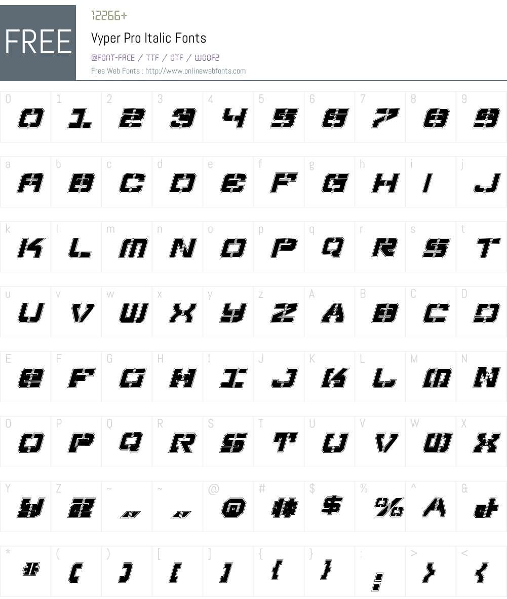 Vyper Pro Italic Font Screenshots