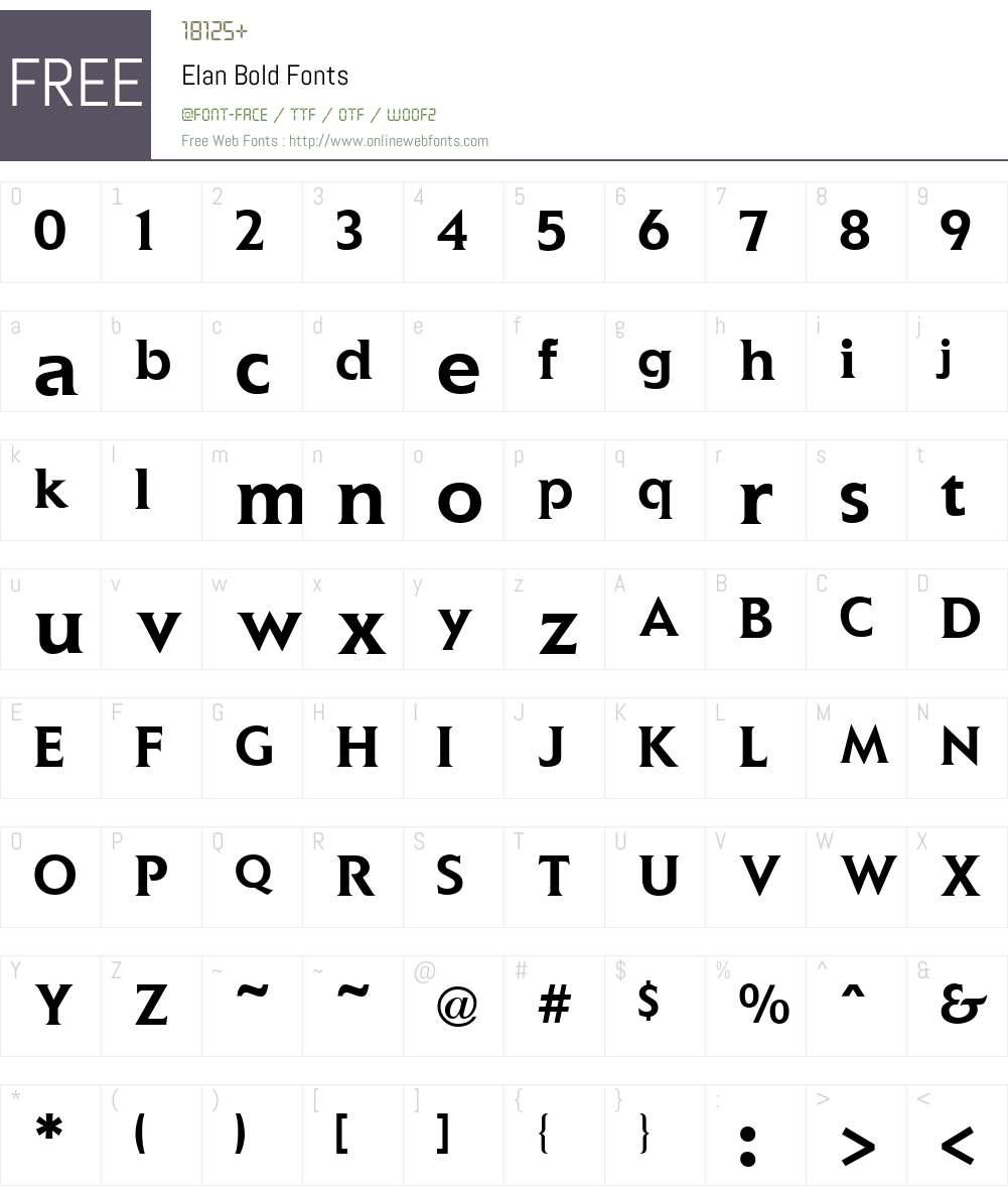 Elan Font Screenshots