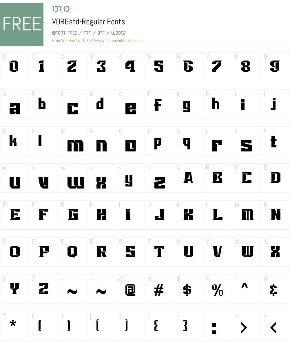 VORGstd Font Screenshots